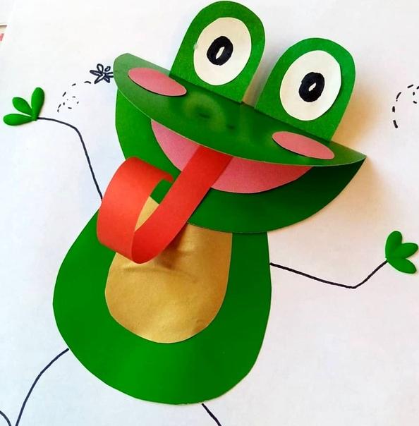 Объемная аппликация из цветной бумаги: Лягушка