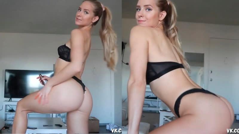 Caroline Zalog трясет попкой черное белье Lingerie Thong G String Blonde hot body sexy big ass Onlyfans Patreon twerk блондинка