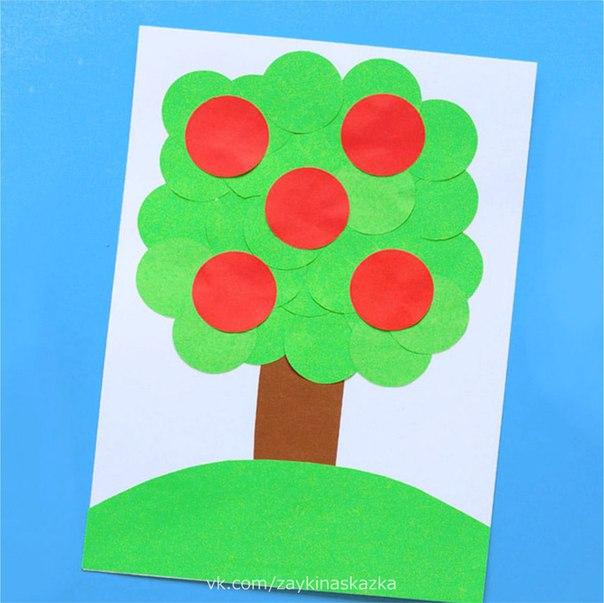 ЯБЛОНЬКА ИЗ БУМАЖНЫХ КРУЖОЧКОВ Аппликация для малышейУ яблоньки-красавицыПлоды подарок лета.У яблоньки-красавицыПлоды вкуснее нету.Ирис