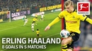 Erling Haaland Scores Again And Celebrates Teammates' Goals - Now 8 Goals in 5 Matches