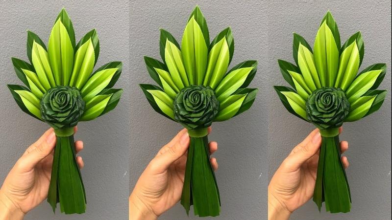ช่อใบเตยดอกกุหลาบ แบบที่ 2   พับใบเตยดอกก36