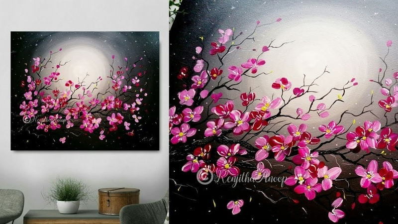 Step by Step acrylic painting on canvas for beginners moon light night Painting Tree of flowers