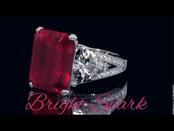 Кольцо в стиле Graff с крупным рубином Luxury 14 карат от Bright Spark