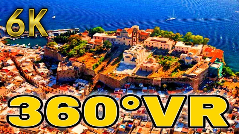 360° VR Lipari City Walkin Revealed Harbour Sicily Tourism Italy Holiday 6K 3D Virtual Reality HD 4K