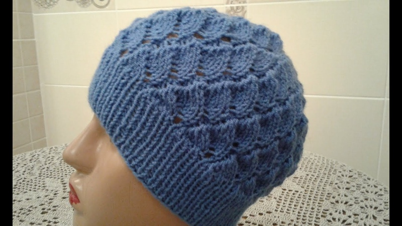 Ажурная шапочка спицами Часть 1 Women's hats knitting How to knit a hat