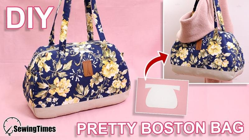 DIY PRETTY BOSTON BAG large capacity handbag tutorial pattern sewingtimes