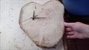 Часы-срез в виде сердца, ВРЕМЯ ЛЮБИТЬ.. Work with a tree, do it yourself.