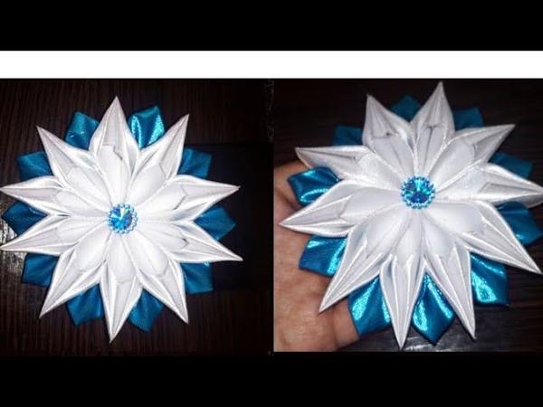 Цветок Канзаши МКdiy kanzashi satijnen lint decoratie サテンリボンの花 Flower of satin ribbons