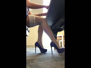 Piano Playing With Jessica Simpson Blue Suede Heels
