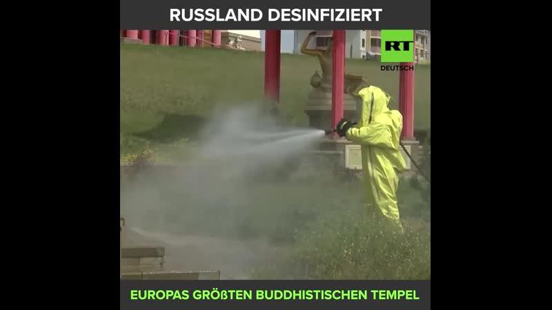 Buddhistischer Tempel in Russland wird desinfiziert