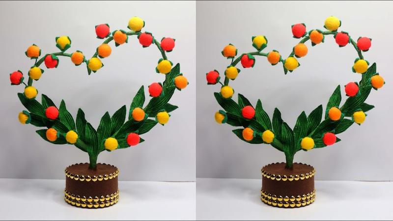 Ide Kreatif Hiasan Meja Bentuk Hati dari Kain Flanel | Home decorate craft ideas showpiece