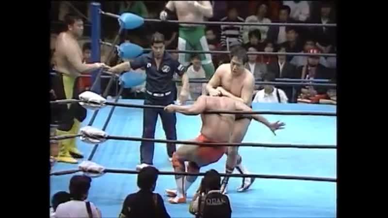 Kenta Kobashi Mitsuharu Misawa Toshiaki Kawada vs Akira Taue Jumbo Tsuruta Masanobu Fuchi 20 04 1991 AJPW