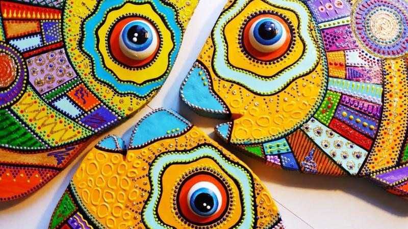 Как сделать декоративную рыбу из картона точечная роспись картонаж