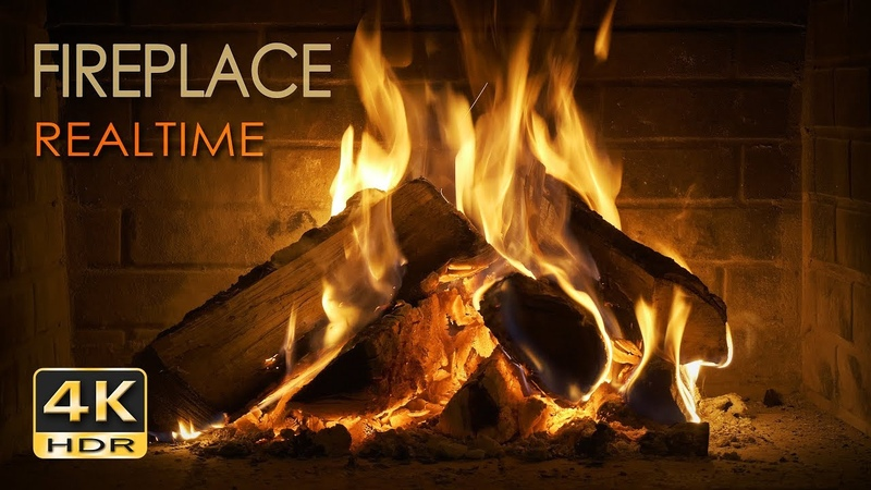 4K HDR Fireplace REALTIME Relaxing Fire Burning Video Crackling Sounds 6 Hours NO LOOP UHD