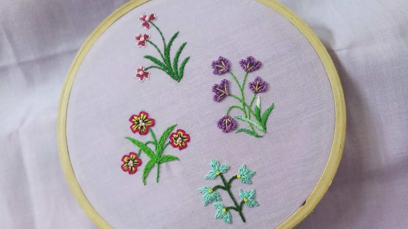 Four easy hand embroidery designs of small flowers with cotton threads