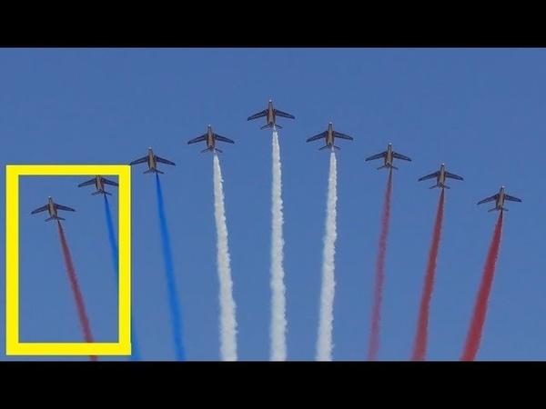 Erreur de couleur lors du survol par la Patrouille de France le 14 juillet 2018 défilé militaire