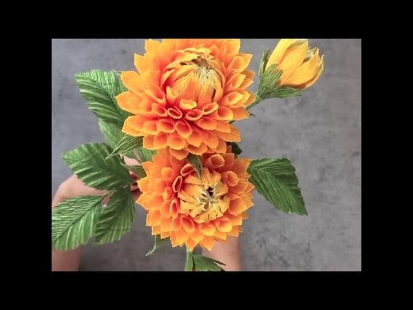 Hướng dẫn làm hoa thược dược bằng giấy nhún