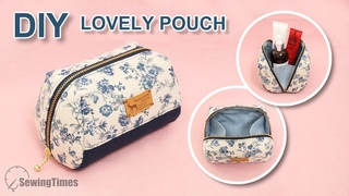 DIY LOVELY POUCH BAG TUTORIAL | Makeup Bag Design Idea & Sewing Pattern [sewingtimes]