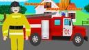 Пожарный и пожарная машина. Развивающие мультики для детей