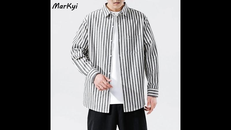 Мужская рубашка в полоску markyi рубашка с длинным рукавом высокое качество большие размеры запонки для свадебной