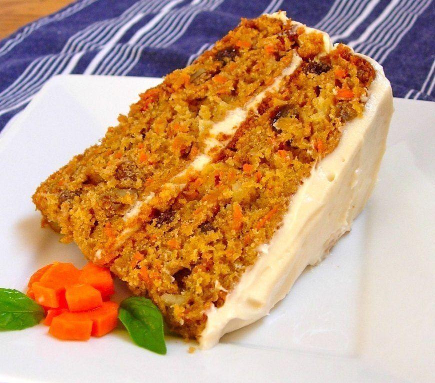 Морковный низкокалорийный торт с творожным кремом